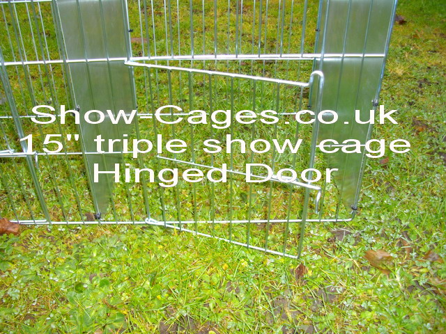 "15"" show cage triple with hinged  doors and solid divisions"