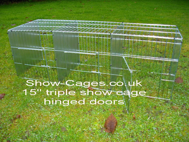 "15"" Triple show pen for cavies or rabbits with hinged doors"