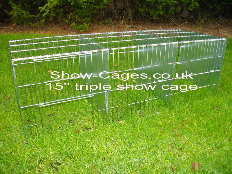 "15"" show cage triple with sliding doors and solid divisions"