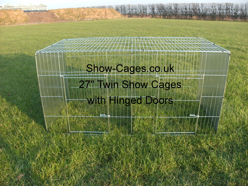 27 inch twin show cage with hinged doors ideal runner ducks, large fowl modern game