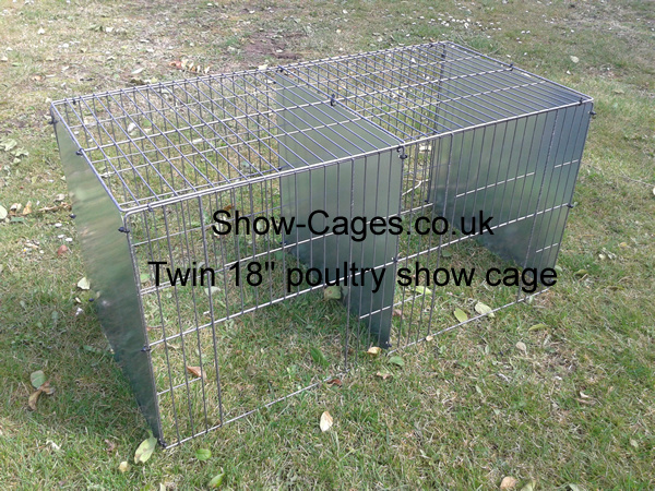 "Twin 18"" poultry show cage pens with sliding doors three solid divisions rings or ties to assemble"